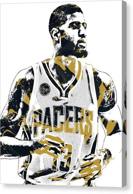 Indiana Pacers Canvas Print - Paul George Indiana Pacers Pixel Art by Joe Hamilton