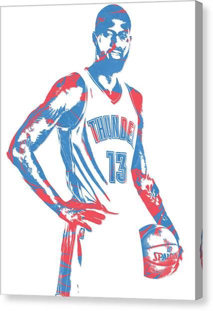 Oklahoma City Thunder Canvas Print - Paul George Oklahoma City Thunder Pixel Art 1 by Joe Hamilton