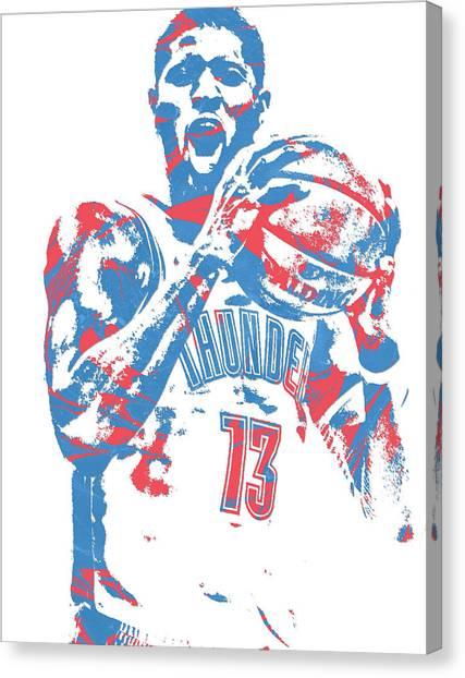 Oklahoma City Thunder Canvas Print - Paul George Oklahoma City Thunder Pixel Art 10 by Joe Hamilton