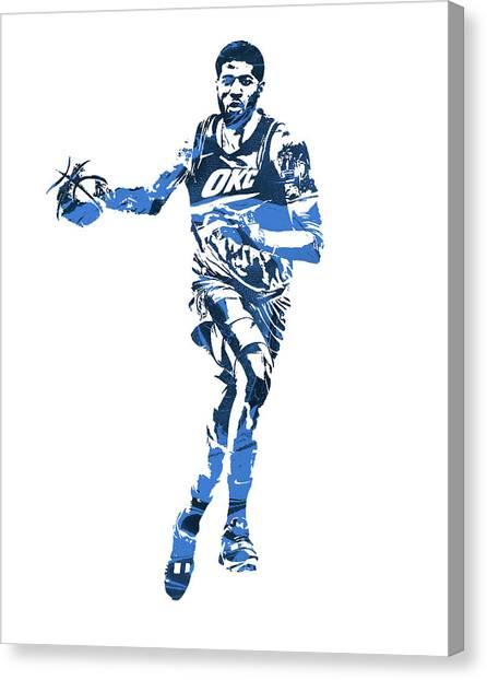 Oklahoma City Thunder Canvas Print - Paul George Oklahoma City Thunder Pixel Art 30 by Joe Hamilton