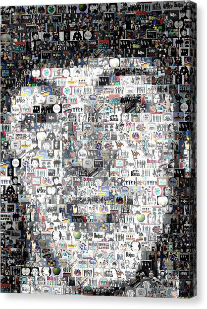 Paul Mccartney Beatles Mosaic Canvas Print by Paul Van Scott