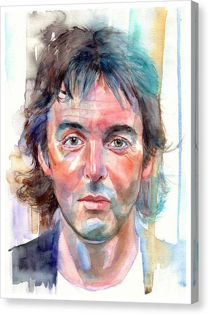 Acoustic Guitars Canvas Print - Paul Mccartney Young Portrait by Suzann's Art