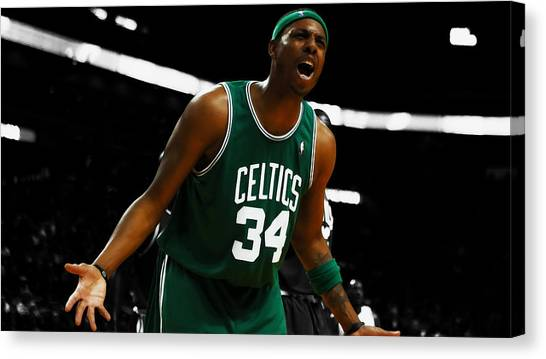 Larry Bird Canvas Print - Paul Pierce Come On Ref by Brian Reaves