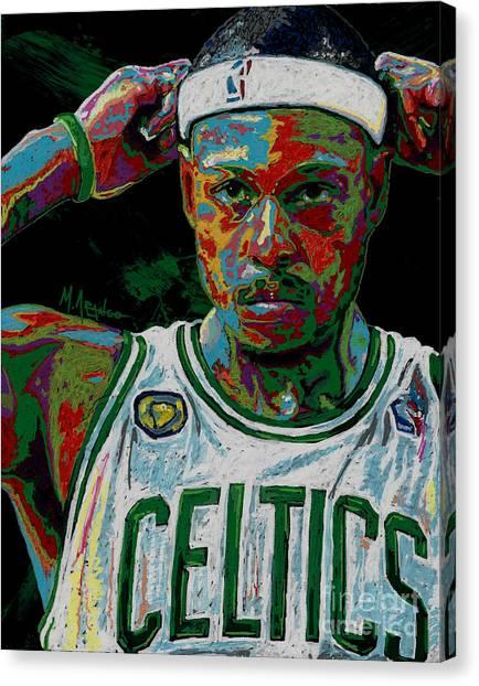 Brooklyn Nets Canvas Print - Paul Pierce by Maria Arango