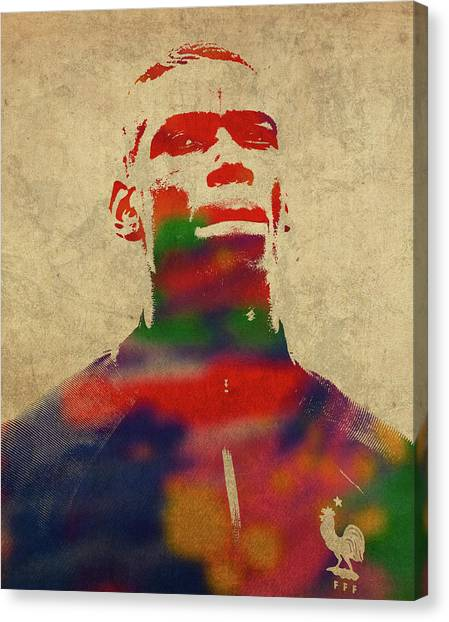 Paul Pogba Canvas Print - Paul Pogba Watercolor Portrait by Design Turnpike