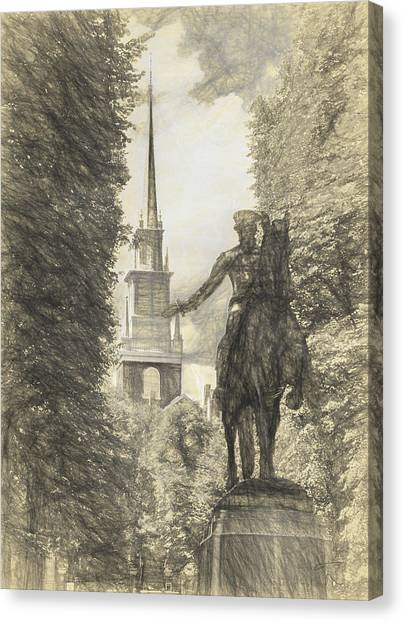 Paul Revere Rides Sketch Canvas Print