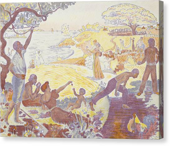 Divisionism Canvas Print - Paul Signac - In The Time Of Harmony - The Joy Of Life - Sunday By The Sea by Paul Signac