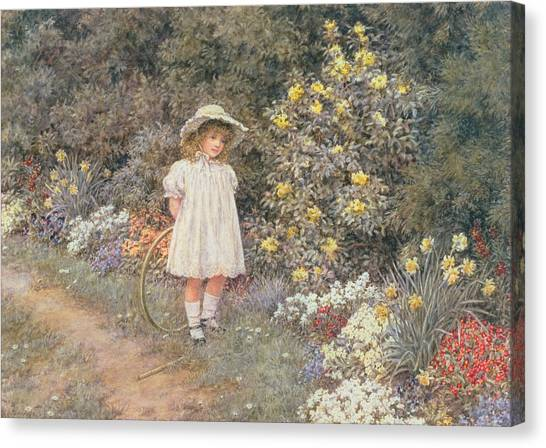 Helen Canvas Print - Pause For Reflection by Helen Allingham