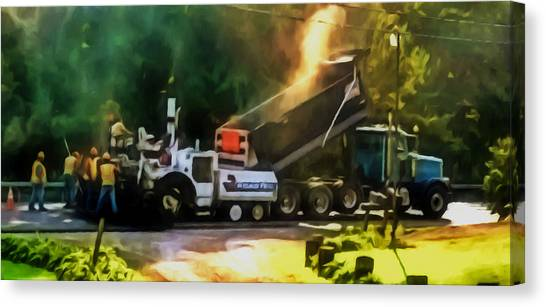 Pavement Machine Laying Fresh Asphalt  On Top Of The Gravel Base During Highway Construction Canvas Print