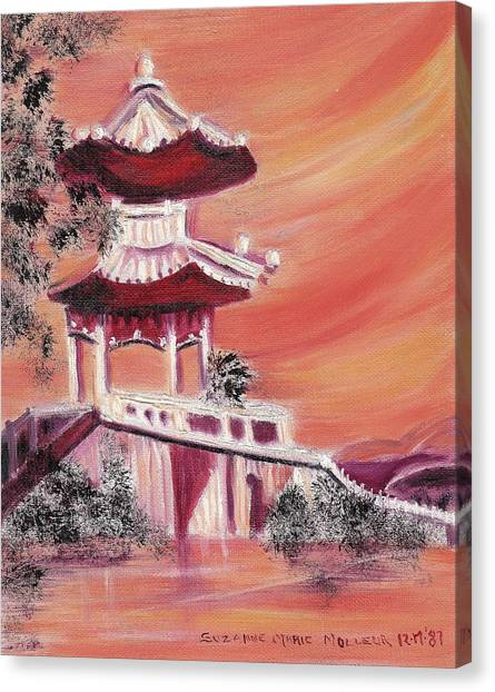 Pavillion In China Canvas Print by Suzanne  Marie Leclair