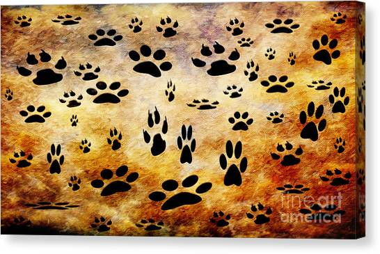 Andee Design Animals Canvas Print - Paw Prints by Andee Design