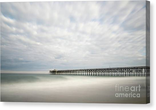 Low Tide Canvas Print - Pawleys Island Pier I by DiFigiano Photography