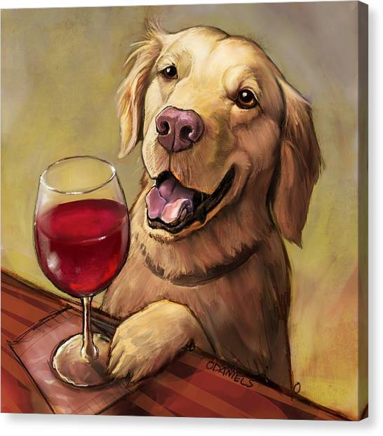 Golden Retrievers Canvas Print - Paw'n For Wine by Sean ODaniels