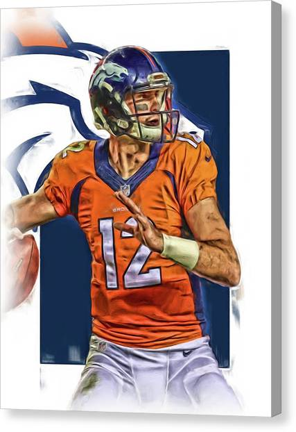 Denver Broncos Canvas Print - Paxton Lynch Denver Broncos Oil Art by Joe Hamilton