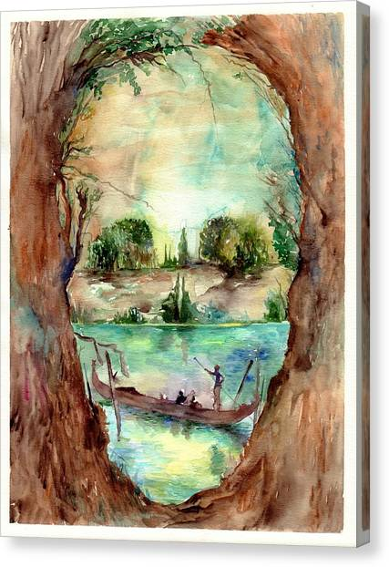 Gothic Art Canvas Print - Paysage With A Boat by Suzann's Art