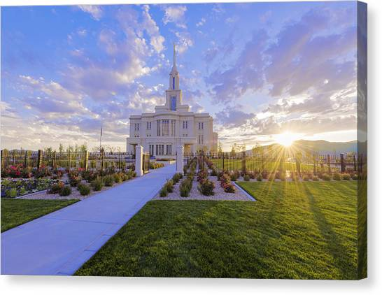 City Sunsets Canvas Print - Payson Temple I by Chad Dutson