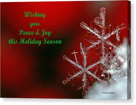 Peace And Joy Christmas Card Two Canvas Print by Angela Patterson