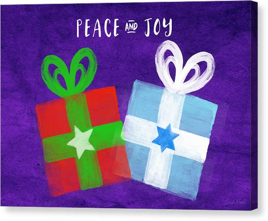 Presents Canvas Print - Peace And Joy- Hanukkah And Christmas Card By Linda Woods by Linda Woods