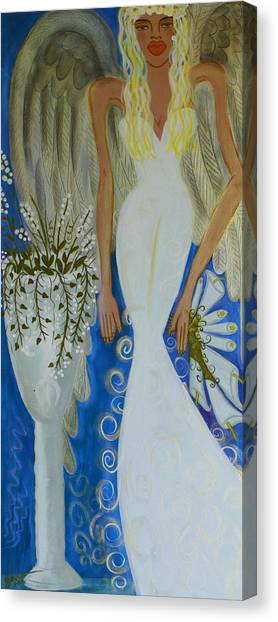 Peace And Love Angel Canvas Print by Helen Gerro