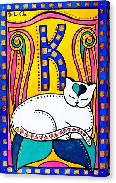 Peace And Love - Cat Art By Dora Hathazi Mendes Canvas Print