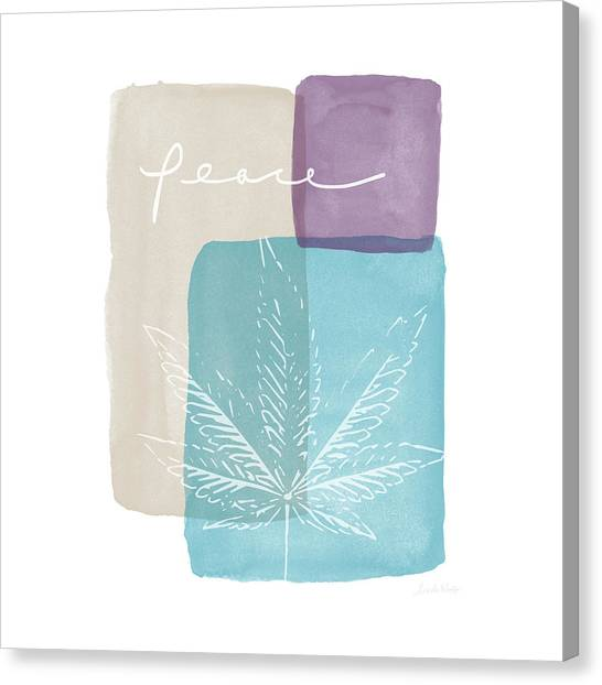 Marijuana Canvas Print - Peace Cannabis Leaf Watercolor- Art By Linda Woods by Linda Woods