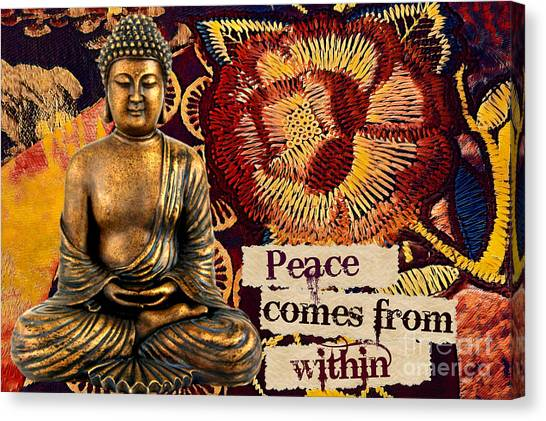 Canvas Print featuring the mixed media Peace Comes From Within. Buddha by Lita Kelley