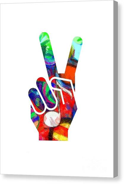 Peace Hippy Paint Hand Sign Canvas Print