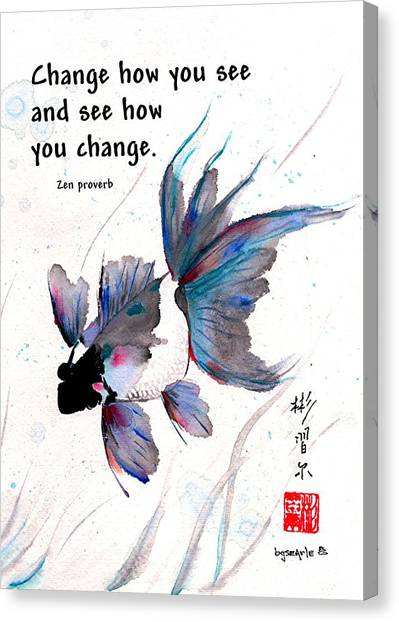 Peace In Change With Zen Proverb Canvas Print
