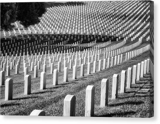 Fort Rosecrans National Cemetery Canvas Print - Resting Place  Monochrome by Joseph S Giacalone
