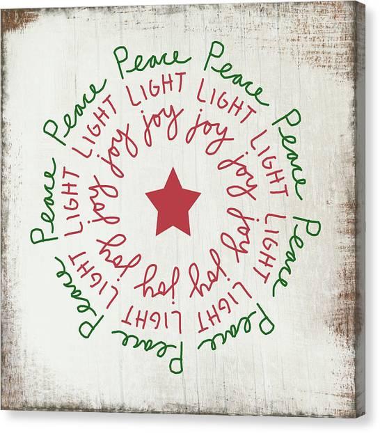 Wreath Canvas Print - Peace Light Joy Wreath- Art By Linda Woods by Linda Woods