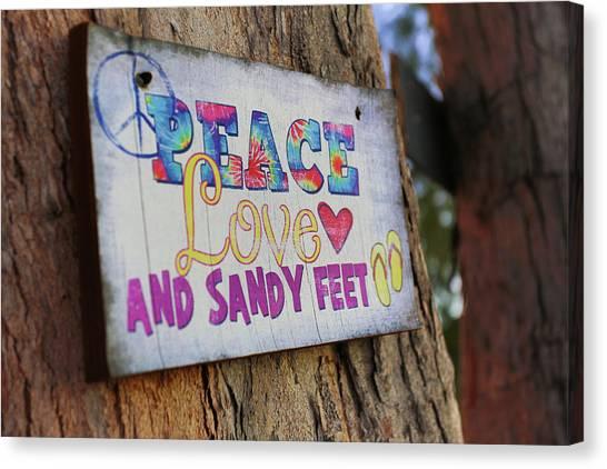 Peace Love And Sandy Feet Canvas Print
