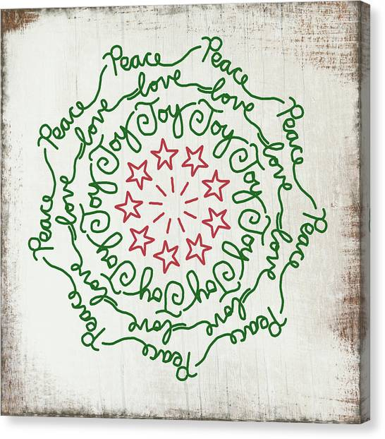 Wreath Canvas Print -  Peace Love Joy Wreath- Art By Linda Woods by Linda Woods