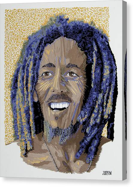 Peace Portrait One Bob Marley Canvas Print by Barbara Lugge