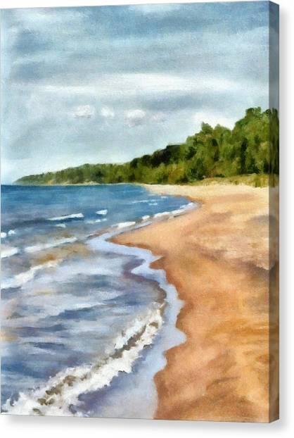 Peaceful Beach At Pier Cove Ll Canvas Print