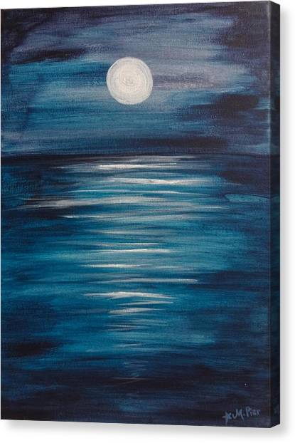 Peaceful Moon At Sea Canvas Print
