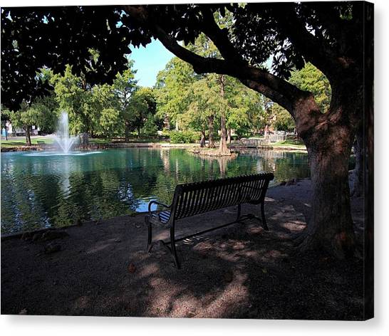 Oklahoma State University Canvas Print - Peaceful Seat At Osu by Buck Buchanan