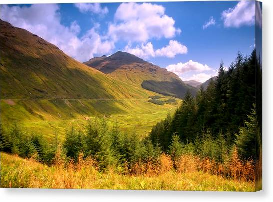Peaceful Sunny Day In Mountains. Rest And Be Thankful. Scotland Canvas Print