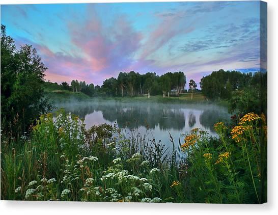 Peaceful Sunrise At Lake. Altai Canvas Print