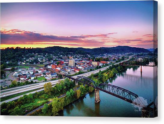 Ohio Valley Canvas Print - Peaceful Sunset Over Bellaire by Flying Dreams