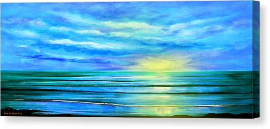 Peacefully Blue - Panoramic Sunset Canvas Print