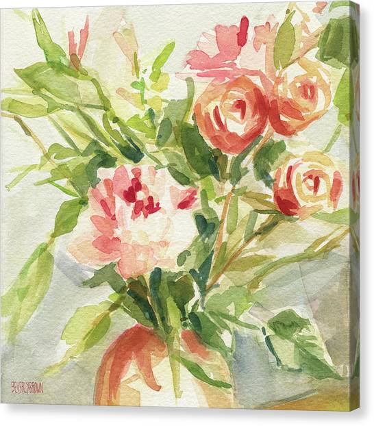 Farmhouse Canvas Print - Peach And Yellow Carnations And Roses by Beverly Brown