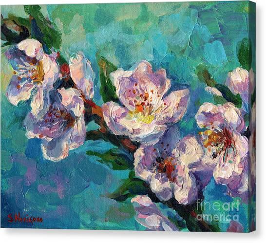 Canvas Print - Peach Blossoms Flowers Painting by Svetlana Novikova