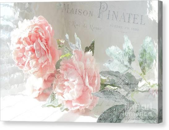 Impressionistic Canvas Print - Peach Peonies Impressionistic Peony Floral Prints - French Impressionistic Peach Peony Prints by Kathy Fornal