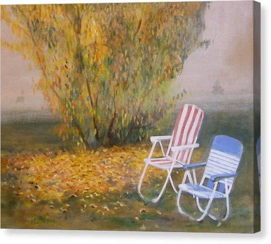 Peach Tree And Winter Fog Canvas Print by Howard Stroman