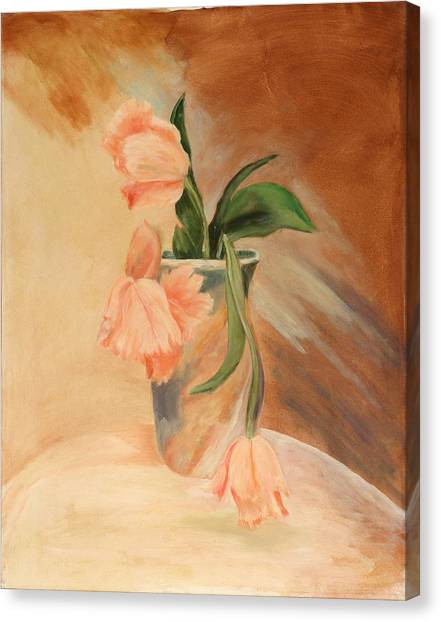 Peach Tulips Canvas Print by Betty Stevens