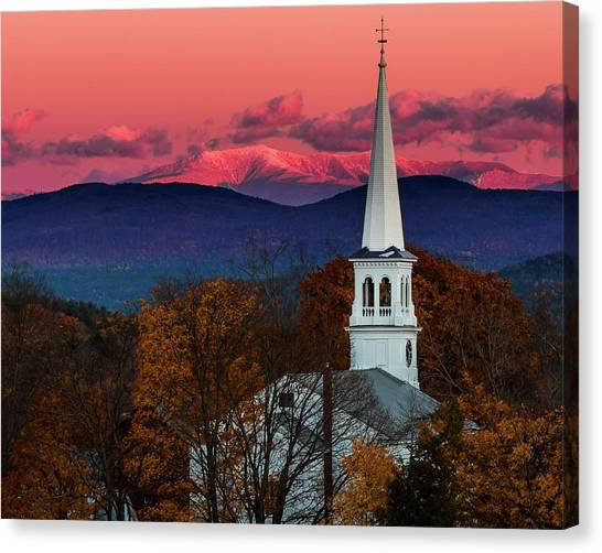 Peacham And White Mtn Sunset Canvas Print