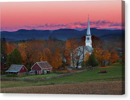 Peacham Village Fall Evening Canvas Print