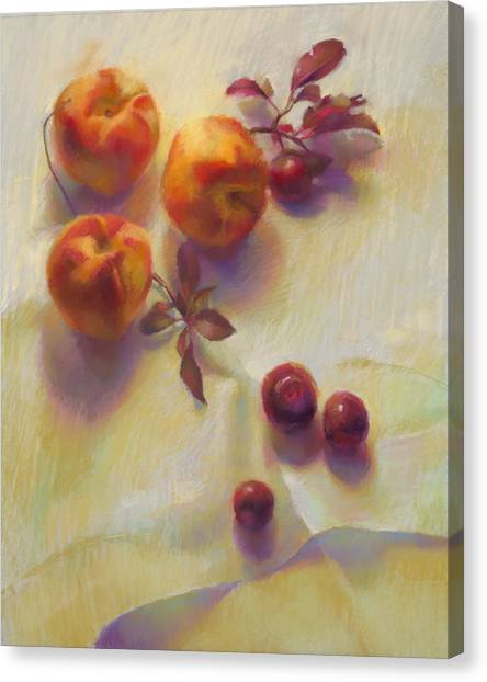 Peaches And Cherries Canvas Print by Cathy Locke