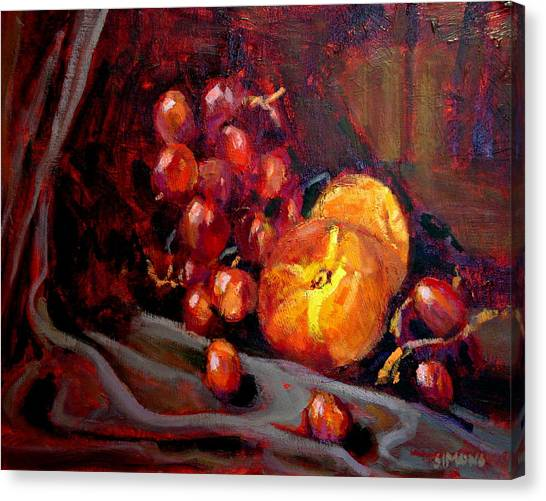 Peaches And Grapes Canvas Print by Brian Simons