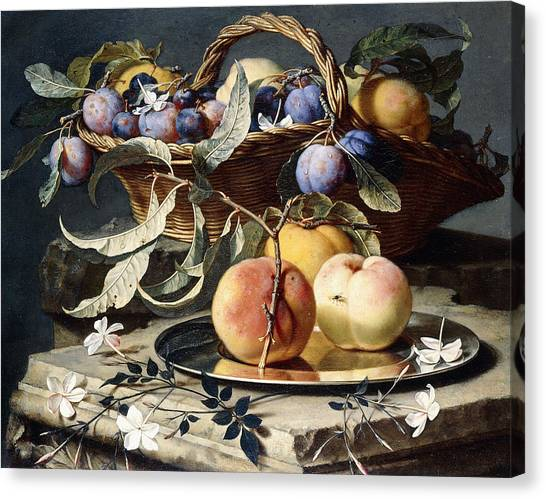 Fruit Baskets Canvas Print - Peaches And Plums In A Wicker Basket, Peaches On A Silver Dish And Narcissi On Stone Plinths by Christian Berentz